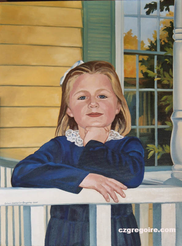 Portrait of Young Girl on Porch